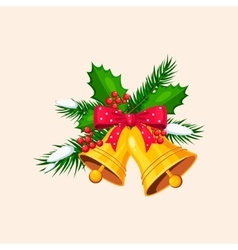 Christmas Bells with Bow and Berries vector image