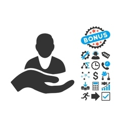 Client Care Hand Flat Icon with Bonus vector image vector image