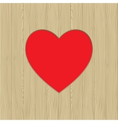 Hole in heart shape on wooden texture vector