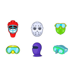 sport mask icon set cartoon style vector image vector image