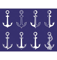 anchor icons on blue vector image vector image