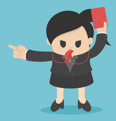 business woman showing red card concept for bad vector image