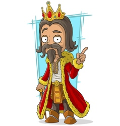 Cartoon bearded king with gold crown vector