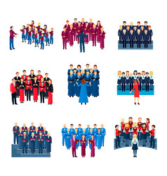 choir singing ensemble flat icons collection vector image