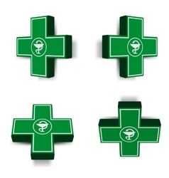 Green medical cross emblem vector image vector image