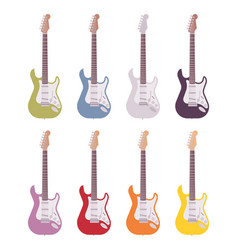 set of colored electric guitars vector image