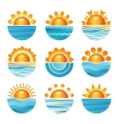 Sunset icons set vector image