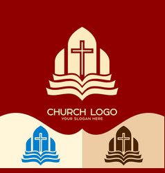 the cross and the open bible vector image