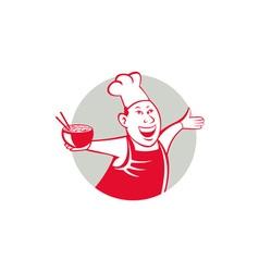 Asian Chef Serving Noodle Bowl Dancing Circle vector image