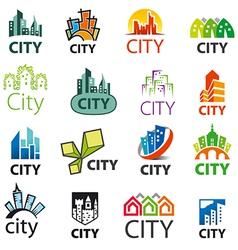 big set of logos cities vector image vector image