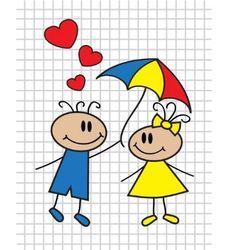 cartoon children with umbrella vector image vector image