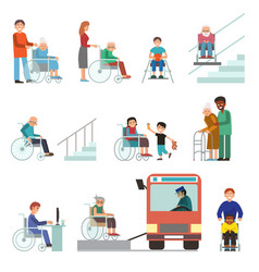 disabled handicapped diverse people wheelchair vector image
