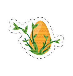 easter yellow egg branch plant - cut line vector image vector image