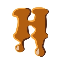 Letter H from caramel icon vector image