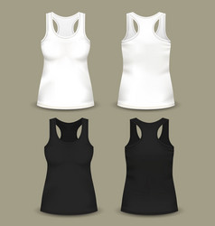set of isolated woman sleeveless top or t-shirts vector image vector image