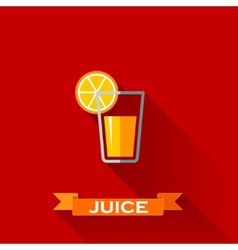 with a glass of juice in flat design style with vector image vector image
