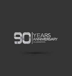 90 years anniversary logotype with silver color vector