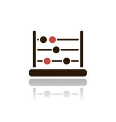 Abacus icon with reflection on a white background vector