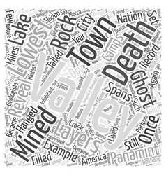 An Overview of Death Valley Word Cloud Concept vector
