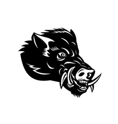 Angry wild boar or common wild pig head side vector