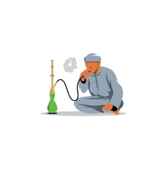 Arab men smoking shisha sign vector