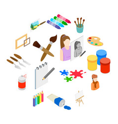 art icons set isometric 3d style vector image