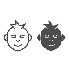 baby boy line and glyph icon kid smiling face vector image