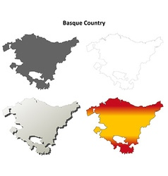 Basque Country blank detailed outline map set vector