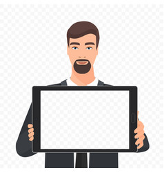 bearded businessman showing the empty tablet pc vector image