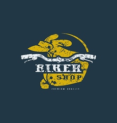 Biker shop badge with shabby texture vector