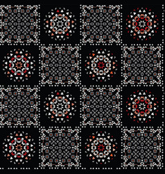 Bohemian black and red folk art patchwork vector