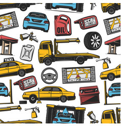 Car auto transport service parts seamless pattern vector