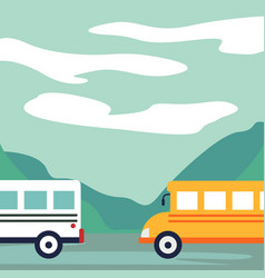 cars buses on the road recreation area lake in vector image