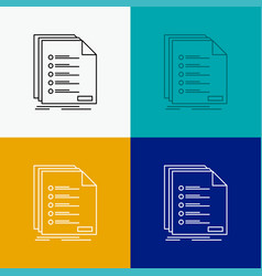 Check filing list listing registration icon over vector