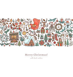 christmas and happy new year horizontal background vector image
