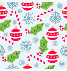 christmas seamless pattern with christmas globes vector image