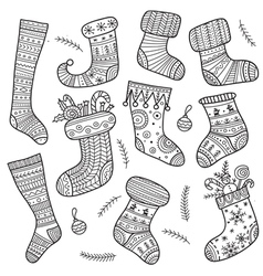 Christmas socks set vector