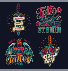 colorful tattoo studio vintage logos vector image