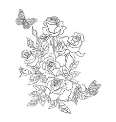 Coloring page with roses and butterflies vector