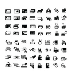 credit card icons set 64 item vector image
