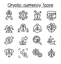 Cryptocurrency fintech icon set in thin line vector