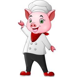 cute chef pig cartoon waving vector image