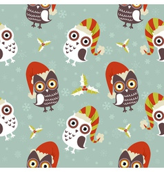 Cute Christmas owl with presents seamless pattern vector image