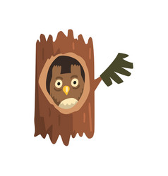 Cute owl sitting in hollow of tree hollowed out vector