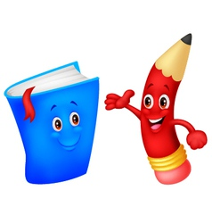 Cute pencil cartoon with book vector image