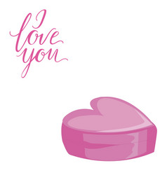 Decorative card with simple pink heart i love you vector