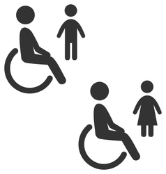 Disability man pictogram flat icon wc female male vector