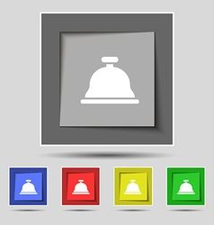 Dish with lid icon sign on original five colored vector image