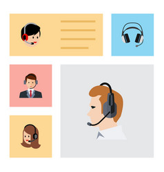 flat center set of operator earphone vector image