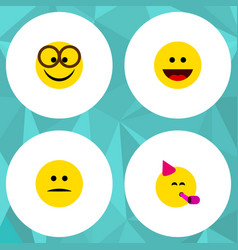 Flat icon expression set of pleasant party time vector